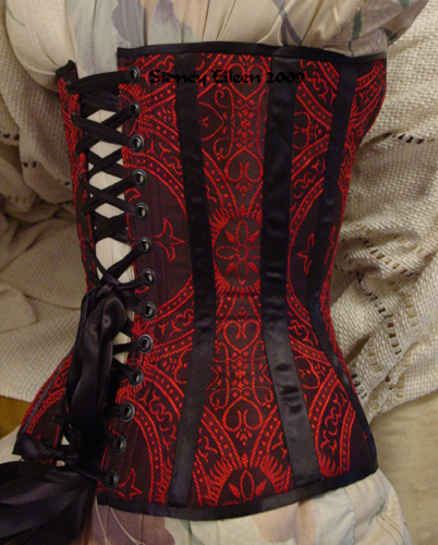 Gothic Brocade Overbust - Quarter Back View, by Sidney Eileen