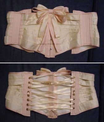 Pink and Cream Fabric Ribbon Corset - Flat, With Bow, by Sidney Eileen