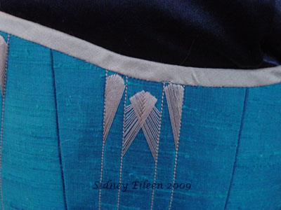 Quilted and Flossed Silk Overbust - Flossing Detail, by Sidney Eileen
