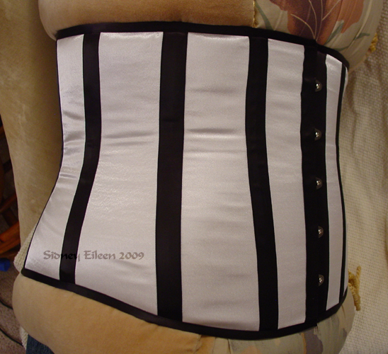 Plus-Sized White Satin Underbust with Black Boning - Quarter Front View