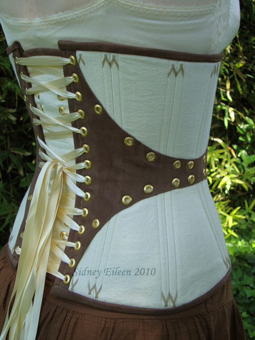 Leather and Coutil Grommeted Underbust - Quarter Back View, by Sidney Eileen