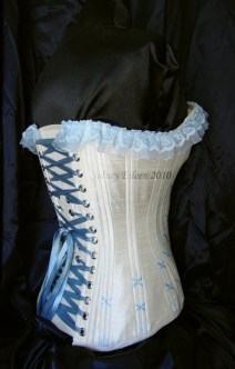 1880's Blue and Cream Silk Sweetheart - Quarter Back View, by Sidney Eileen