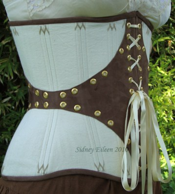 Leather and Coutil Grommeted Underbust - Quarter Front View, by Sidney Eileen