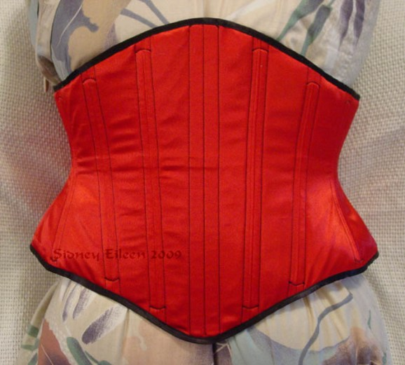 Reversible Waist Cincher - Red Side - Front View, by Sidney Eileen