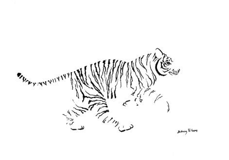 Title: Minimalist Running Tiger, Artist: Sidney Eileen, Medium: brush marker on paper