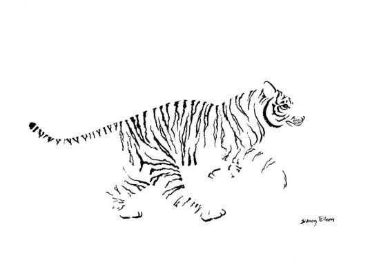 Title: Minimalist Running Tiger, Artist: Sidney Eileen, Medium: brush marker on paper