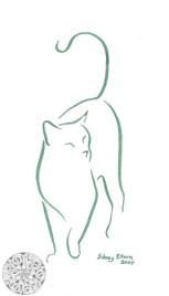 Title: Min. Cat 1, Artist: Sidney Eileen, Medium: brush marker on paper