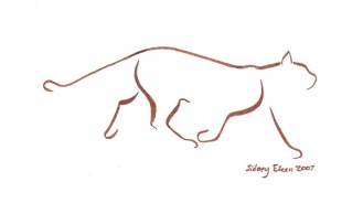 Title: Minimalist Cat 4, Artist: Sidney Eileen, Medium: brush marker on paper