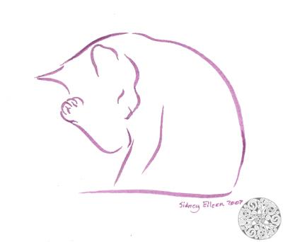 Title: Min. Cat 5, Artist: Sidney Eileen, Medium: brush marker on paper