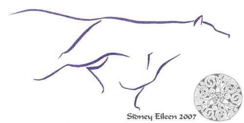 Title: Min. Running Wolf 7, Artist: Sidney Eileen, Medium: brush marker on paper