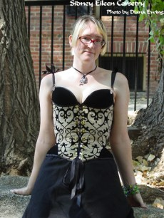 Linen and Velvet Merry Widow - Front View, by Sidney Eileen