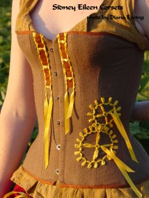 Brown Silk Steampunk Overbust - Quarter Front View, by Sidney Eileen