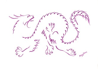 Title: Minimalist Oriental Dragon 4, Artist: Sidney Eileen, Medium: brush maker on paper