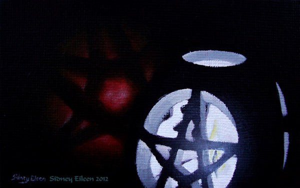 Title: Pentragram Candle and Apple, Artist: Sidney Eileen, Medium: oils on canvas board
