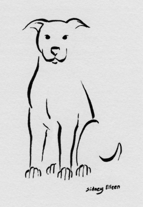 Title: Min Dog - Sitting, Now What?, Artist: Sidney Eileen, Medium: brush marker on paper