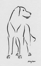 Title: Min Dog - Stalwart, Artist: Sidney Eileen, Medium: brush marker on paper
