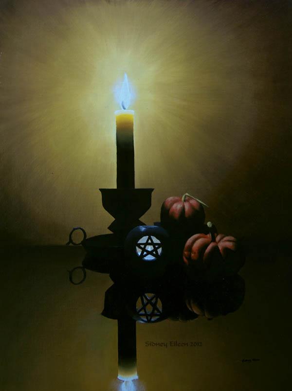 Title: Samhain Candles, Artist: Sidney Eileen, Medium: oils on canvas board