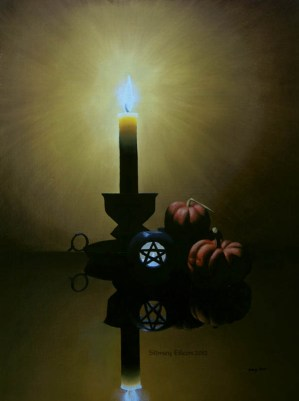 Title: Samhain Candles, Artist: Sidney Eileen, Medium: oils on canvas board