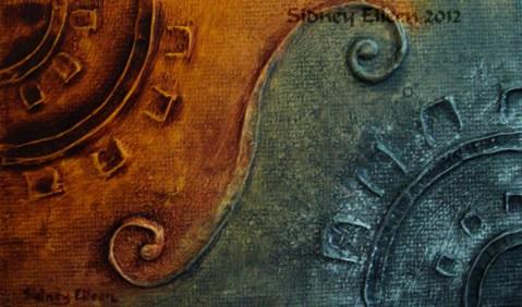 Title: Silver Gear Copper Gear, Artist: Sidney Eileen, Medium: impasto acrylic on canvas