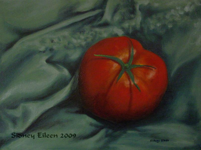 Title: Tomato 1, Artist: Sidney Eileen, Medium: oils on canvas board
