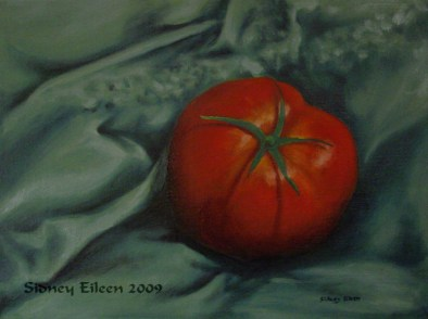 Title: Tomato 1, Artist: Sidney Eileen, Medium: oils on canvas board