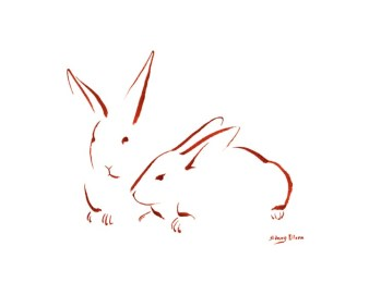 Title: Minimalist Two Bunnies 1, Artist: Sidney Eileen, Medium: brush marker on paper