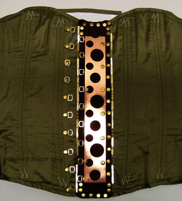 Drab Green Silk Overbust Corset - Replaced Busk; by Sidney Eileen