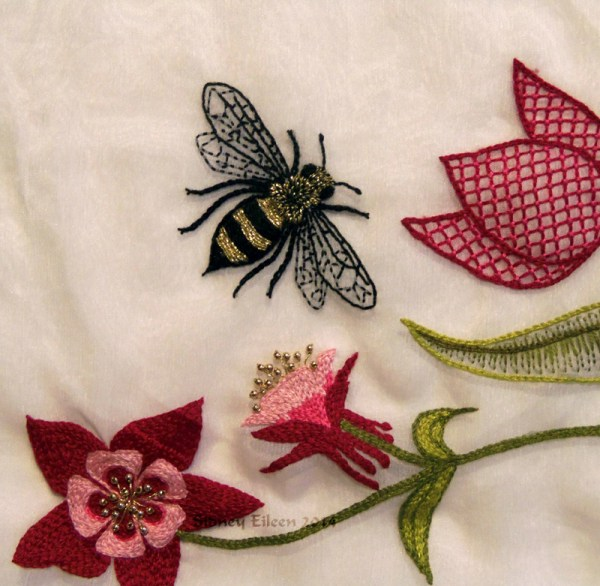 Scalloped Veil - Embroidery Detail - Bee, by Sidney Eileen