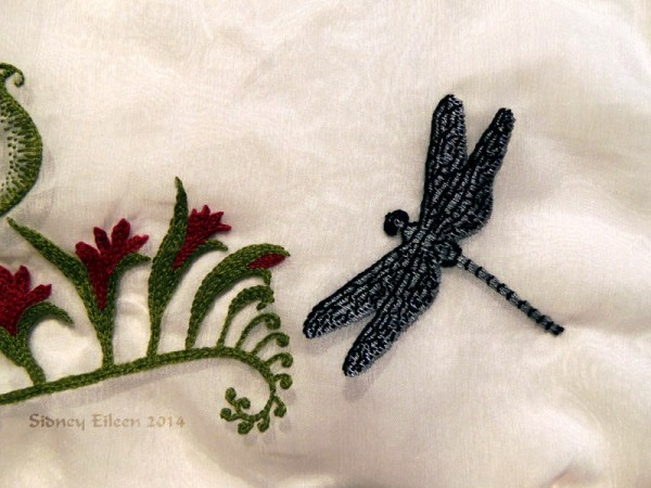 Scalloped Veil - Detail - Dragonfly, by Sidney Eileen