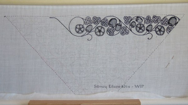 "Blackwork Forehead Cloth - WIP4 - Flat silk embroidery on linen fabric, 16.5""x8.25"" - by Sidney Eileen"