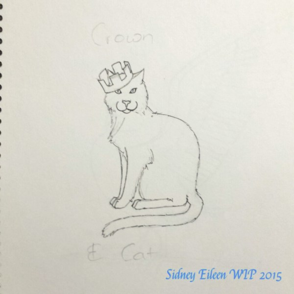 Crown and Cat - Sketch, by Sidney Eileen, sign banner design for Talon Crescent Wars, SCA.