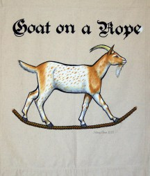 Goat on a Rope Sign Banner, by Sidney Eileen, acrylic paint on raw cotton canvas, for Talon Crescent Wars, SCA.