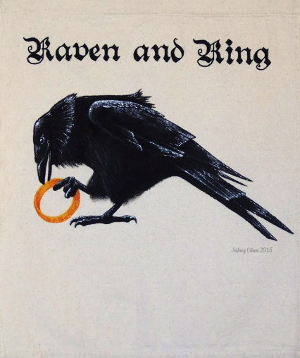 Raven and Ring Sign Banner, by Sidney Eileen, acrylic paint on raw cotton canvas, for Talon Crescent Wars, SCA.