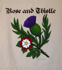 Rose and Thistle Sign Banner, by Sidney Eileen, acrylic paint on raw cotton canvas, for Talon Crescent Wars, SCA.