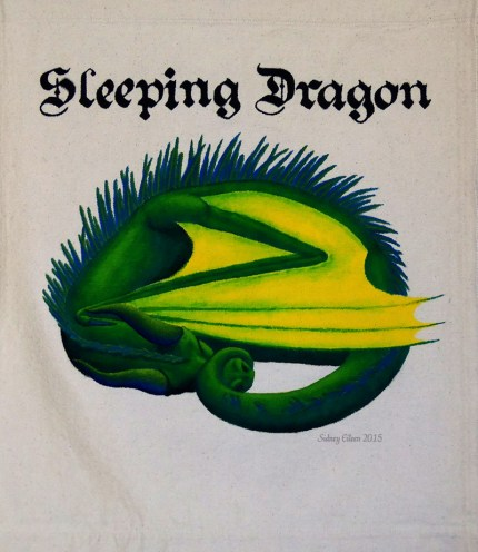 Sleeping Dragon Sign Banner, by Sidney Eileen, acrylic paint on raw cotton canvas, for Talon Crescent Wars, SCA.