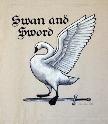 Swan and Sword Sign Banner, by Sidney Eileen, acrylic paint on raw cotton canvas, for Talon Crescent Wars, SCA.