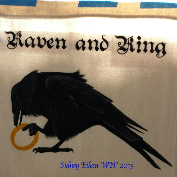 Raven and Ring Sign Banner Sketch, by Sidney Eileen, acrylic paint on raw cotton canvas, for Talon Crescent Wars, SCA.
