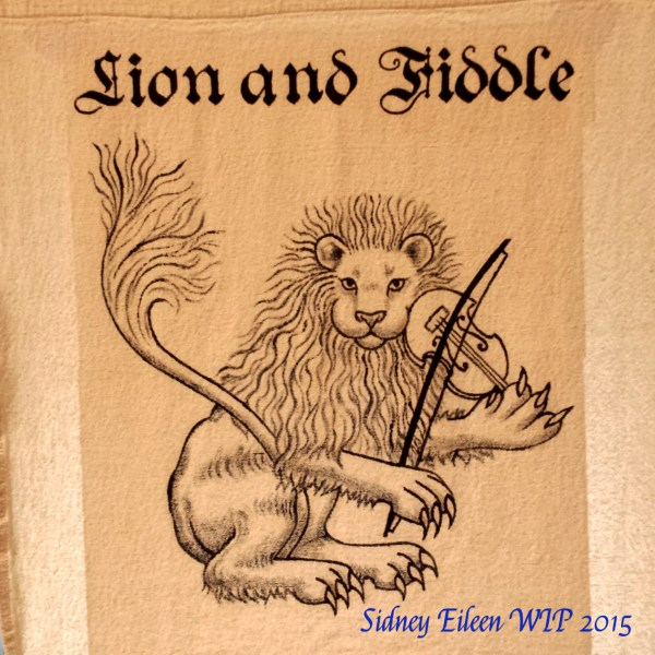 Lion and Fiddle Sign Banner - WIP, by Sidney Eileen, acrylic paint on raw cotton canvas, for Talon Crescent Wars, SCA.