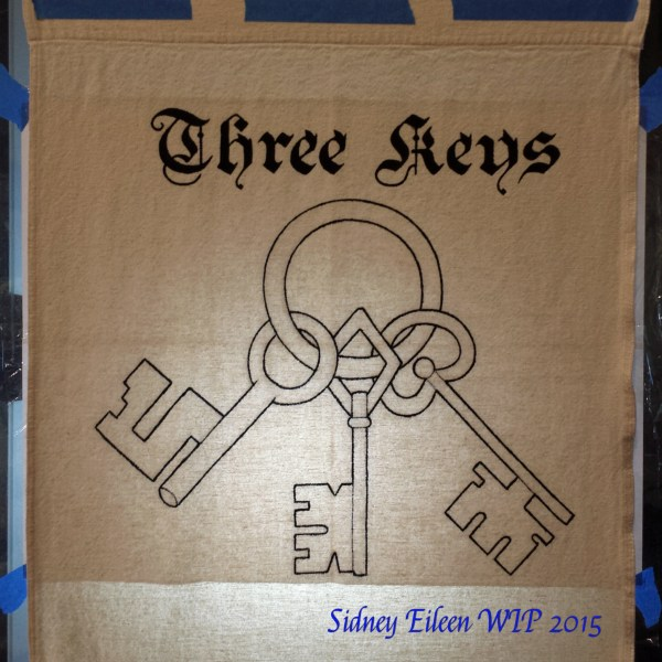 Three Keys Sign Banner WIP, by Sidney Eileen, acrylic paint on raw cotton canvas, for Talon Crescent Wars, SCA.