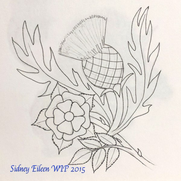 Rose and Thistle Concept Sketch, by Sidney Eileen, for Talon Crescent Wars, SCA.