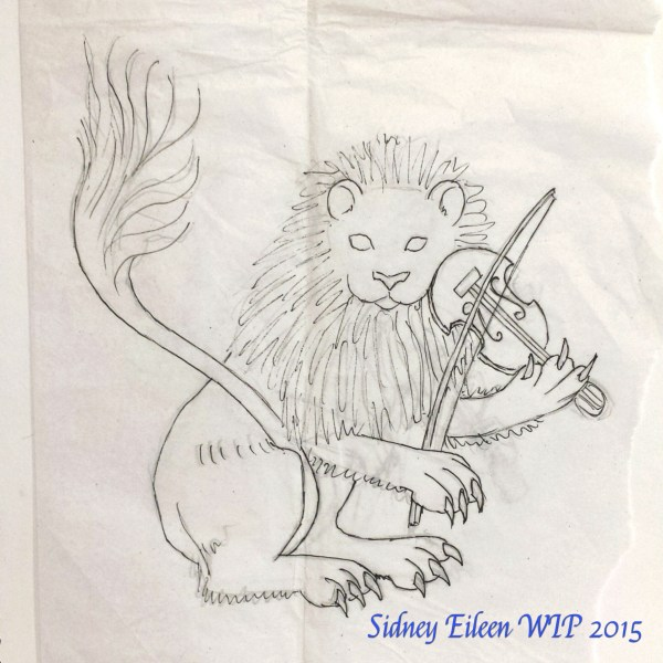 Lion and Fiddle Concept Sketch, by Sidney Eileen, for Talon Crescent Wars, SCA.