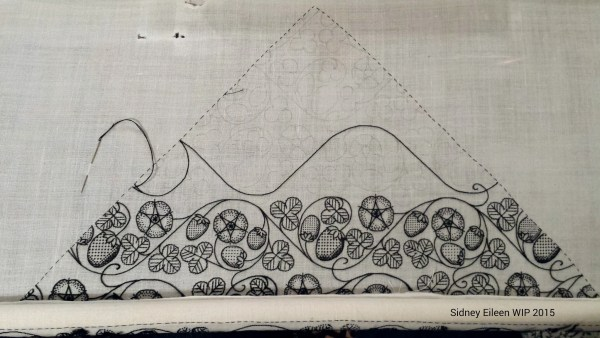 Blackwork Forehead Cloth WIP, Flat silk on linen, by Sidney Eileen, Late 1500's English style blackwork embroidery