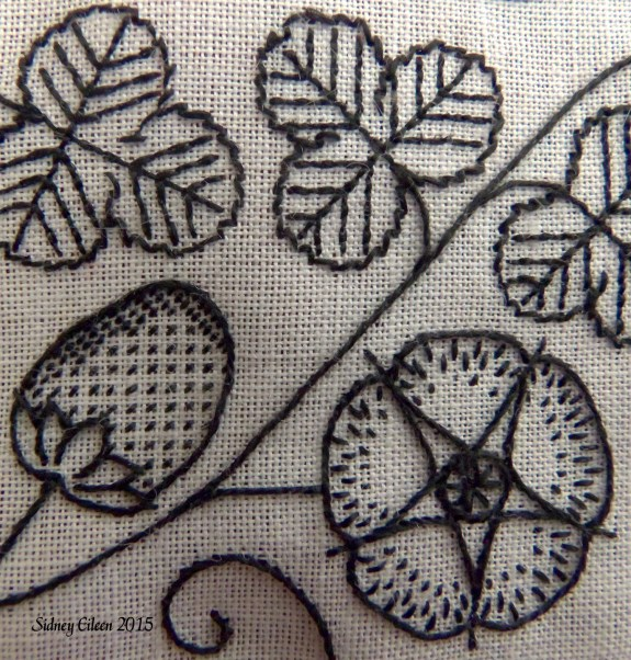 Blackwork Embroidered Forehead Cloth - Detail, by Sidney Eileen, Black flat silk on white linen, Elizabethan English style blackwork