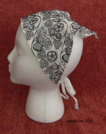 Blackwork Embroidered Forehead Cloth - Mannequin, by Sidney Eileen, Black flat silk on white linen, Elizabethan English style blackwork