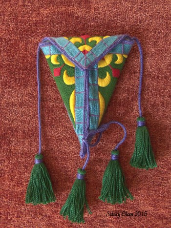 Embroidered Scissor Case - Front, by Sidney Eileen, cotton floss and perle cotton on cotton canvas