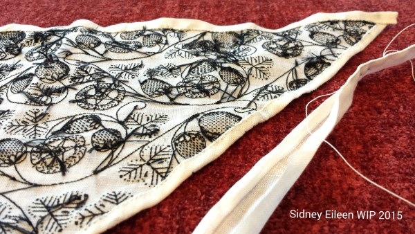 Blackwork Forehead Cloth - WIP9 - Detail, by Sidney Eileen, flat silk on linen, linen thread, hand sewn with whip stitch.