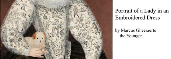 Marcus Gheeraerts the Younger Portrait of a Lady in an Embroidered Dress (detail of freehand blackwork embroidery) 1500's
