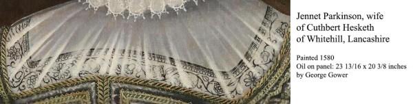 Jannet Parkinson 1580 - detail of freehand blackwork embroidery
