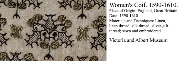 Woman's Coif 1590-1610 - freehand blackwork embroidery detail - V&A Museum http://collections.vam.ac.uk/item/O364617/womens-coif-unknown/