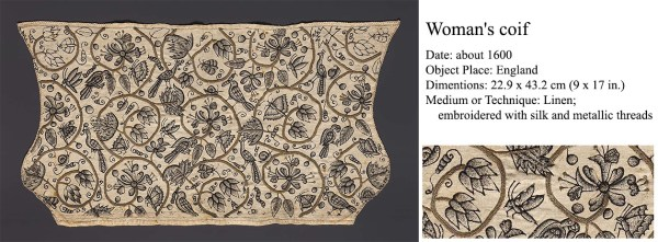 Freehand Blackwork Embroidered Coif - 1600 - Museum of Fine Arts Boston http://www.mfa.org/collections/object/womans-coif-127863